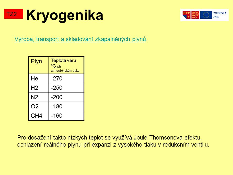 Kryogenika TZ2 Výroba, transport a skladování zkapalněných plynů. Plyn
