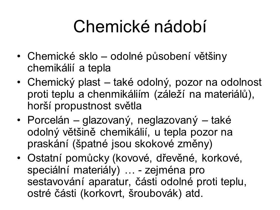 Chemické nádobí Chemické sklo – odolné působení většiny chemikálií a tepla.