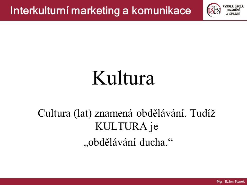 """Cultura (lat) znamená obdělávání. Tudíž KULTURA je """"obdělávání ducha."""