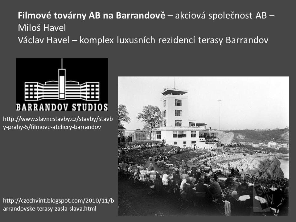 Filmové továrny AB na Barrandově – akciová společnost AB – Miloš Havel Václav Havel – komplex luxusních rezidencí terasy Barrandov