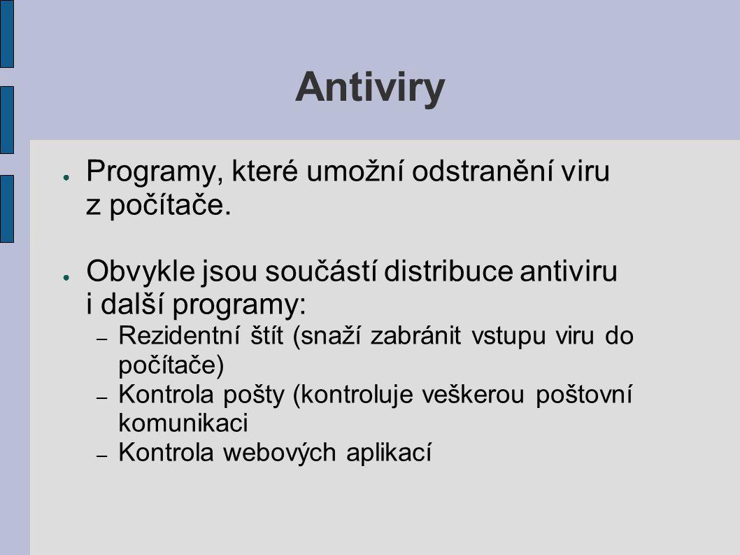 Antiviry Programy, které umožní odstranění viru z počítače.