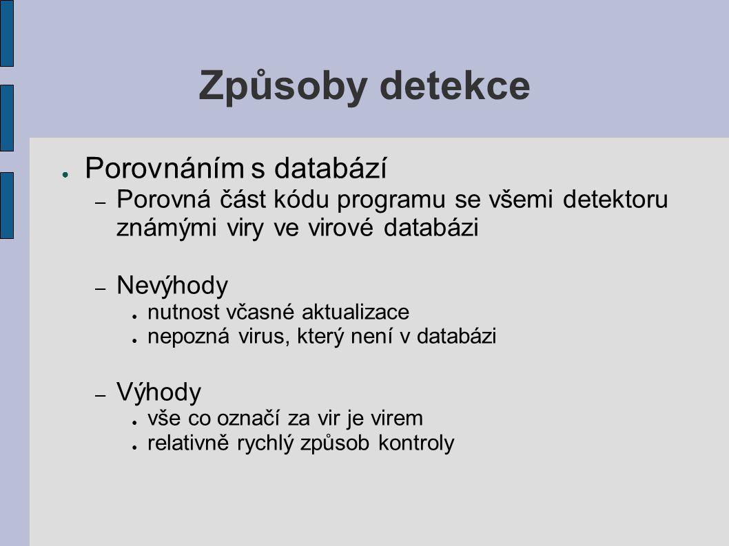 Způsoby detekce Porovnáním s databází