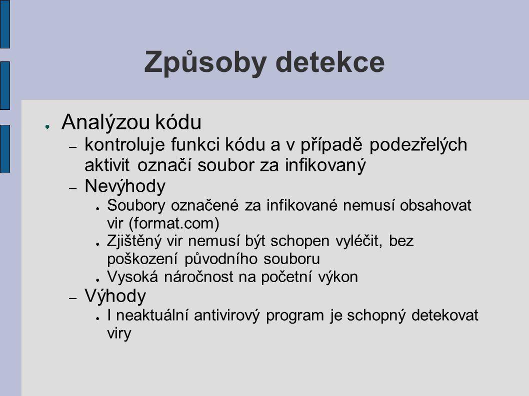 Způsoby detekce Analýzou kódu