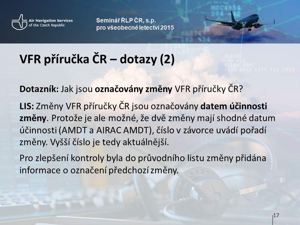 VFR příručka ČR – dotazy (2)