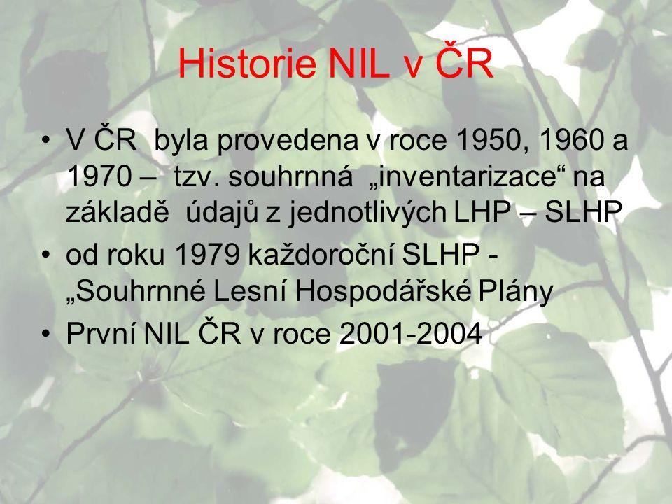 """Historie NIL v ČR V ČR byla provedena v roce 1950, 1960 a 1970 – tzv. souhrnná """"inventarizace na základě údajů z jednotlivých LHP – SLHP."""