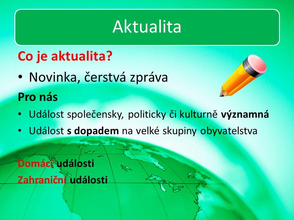 Aktualita Co je aktualita Novinka, čerstvá zpráva Pro nás