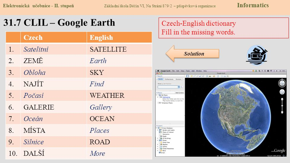 31.7 CLIL – Google Earth Czech-English dictionary