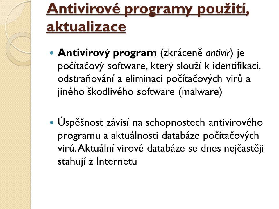 Antivirové programy použití, aktualizace