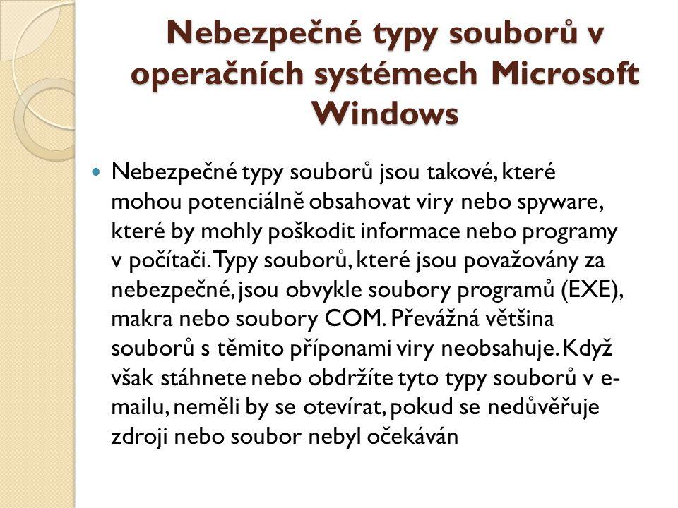 Nebezpečné typy souborů v operačních systémech Microsoft Windows