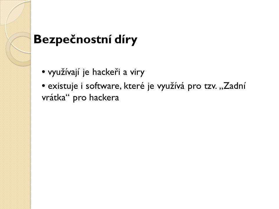 Bezpečnostní díry • využívají je hackeři a viry