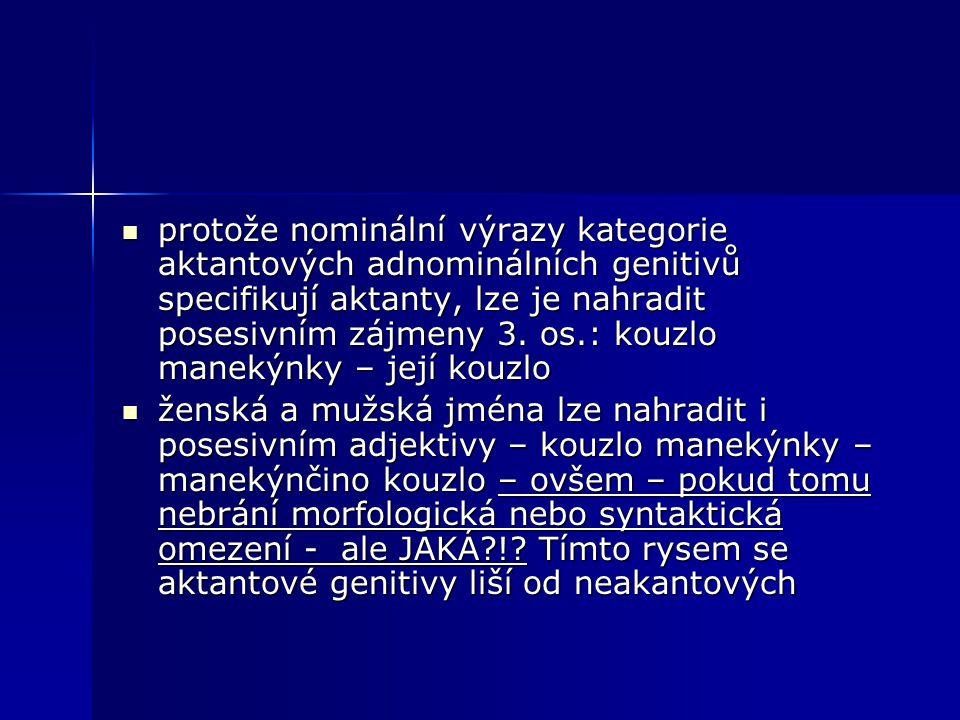 protože nominální výrazy kategorie aktantových adnominálních genitivů specifikují aktanty, lze je nahradit posesivním zájmeny 3. os.: kouzlo manekýnky – její kouzlo