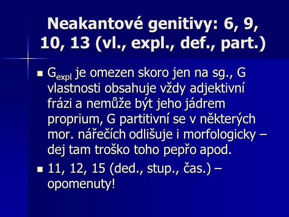 Neakantové genitivy: 6, 9, 10, 13 (vl., expl., def., part.)