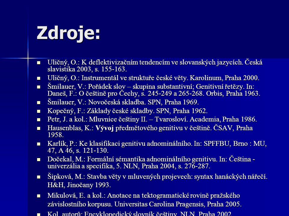 Zdroje: Uličný, O.: K deflektivizačním tendencím ve slovanských jazycích. Česká slavistika 2003, s. 155-163.