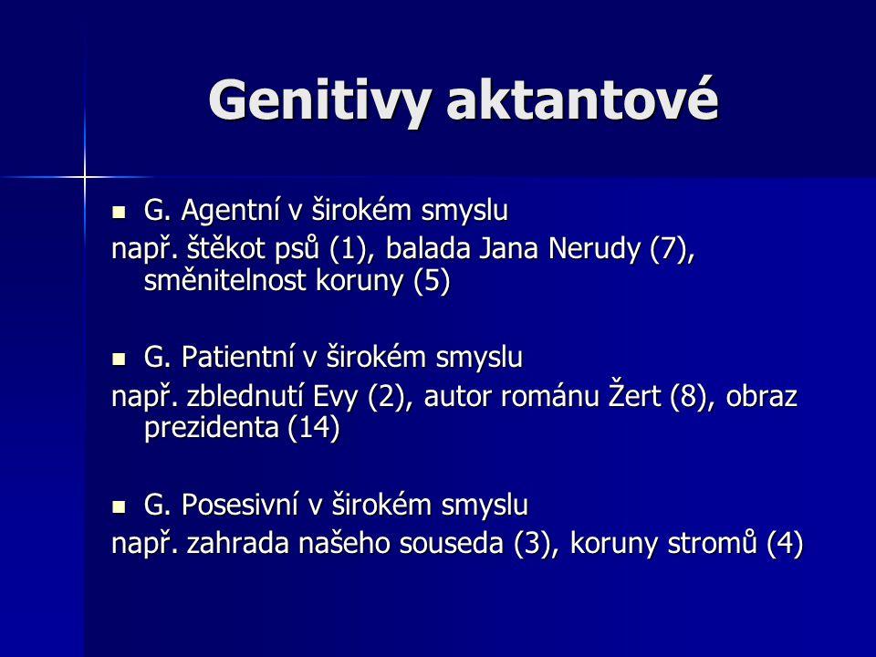 Genitivy aktantové G. Agentní v širokém smyslu