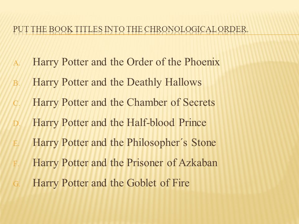 Put the Book titles into the chronological order.