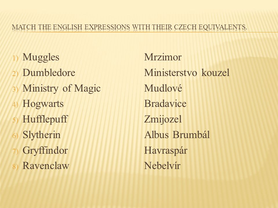 Match the english expressions with their czech equivalents.