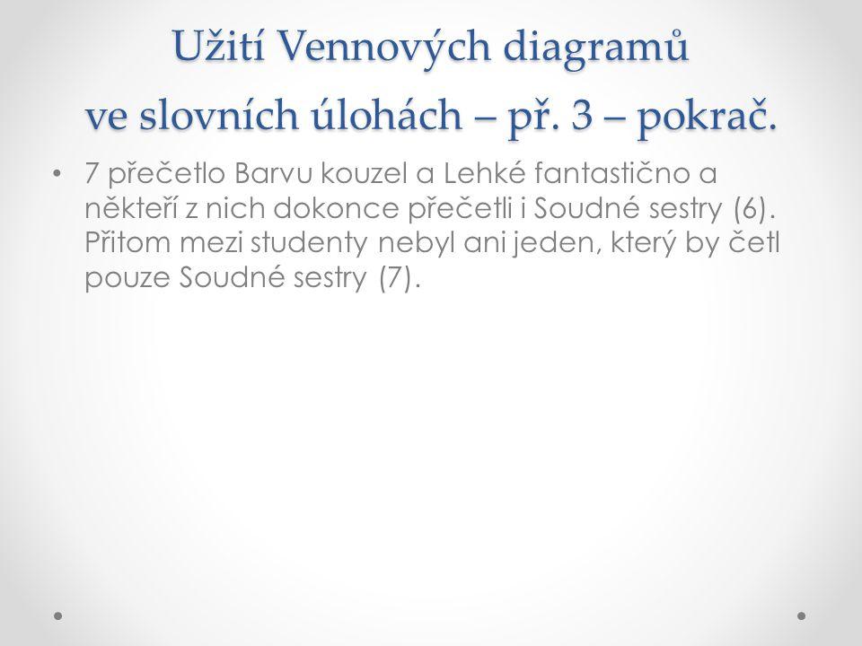 Užití Vennových diagramů ve slovních úlohách – př. 3 – pokrač.