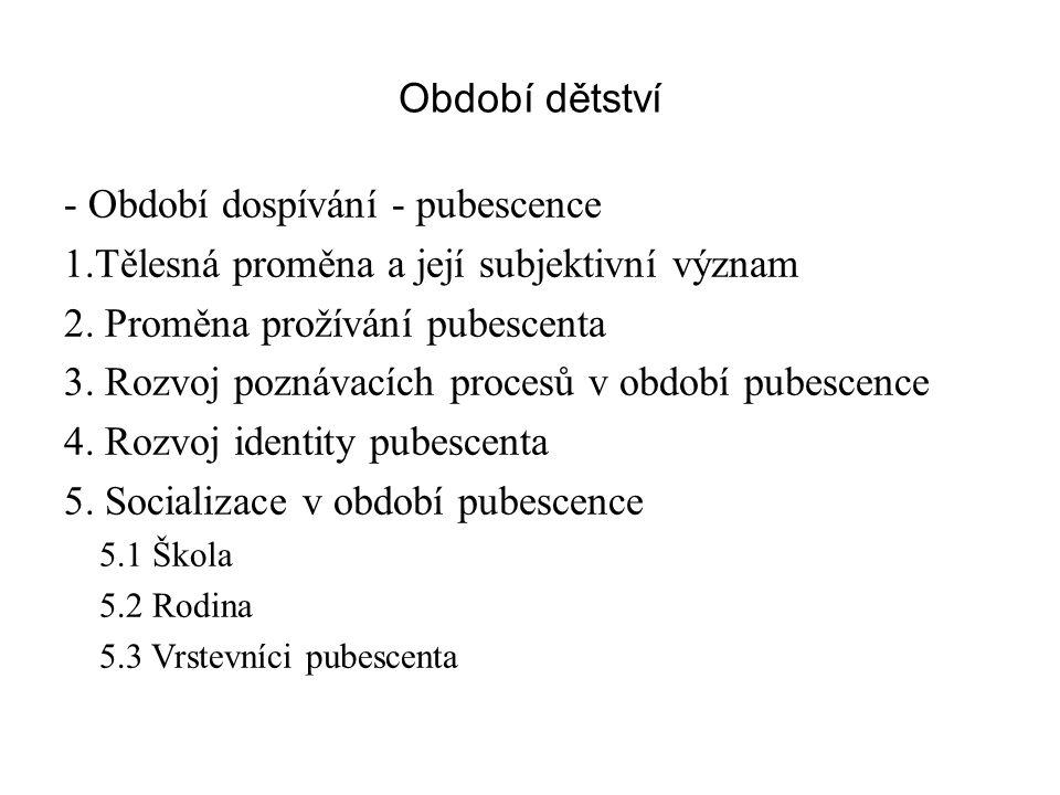 - Období dospívání - pubescence