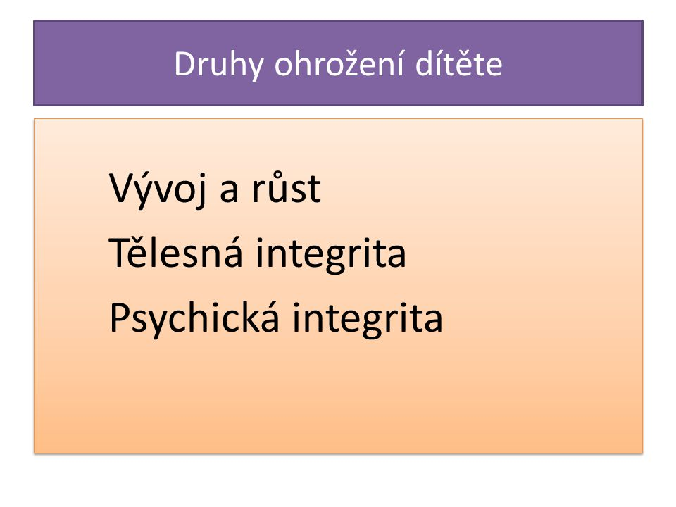 Vývoj a růst Tělesná integrita Psychická integrita
