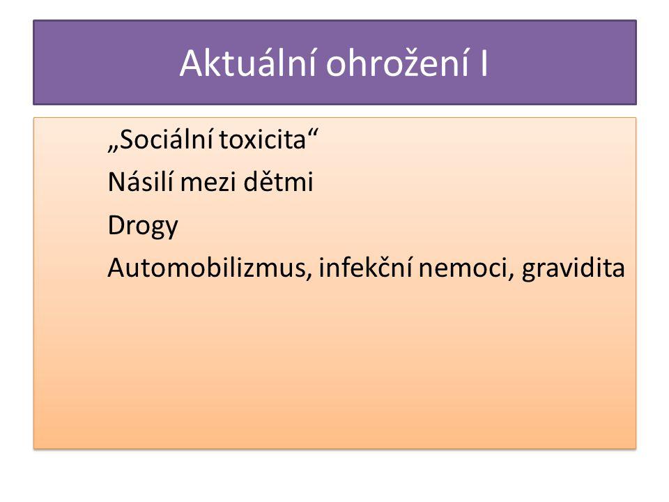 """Aktuální ohrožení I """"Sociální toxicita Násilí mezi dětmi Drogy Automobilizmus, infekční nemoci, gravidita"""