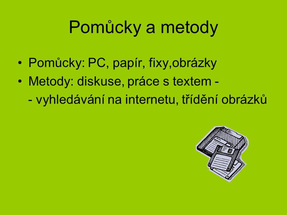 Pomůcky a metody Pomůcky: PC, papír, fixy,obrázky