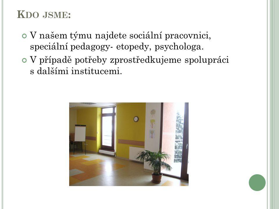 Kdo jsme: V našem týmu najdete sociální pracovnici, speciální pedagogy- etopedy, psychologa.