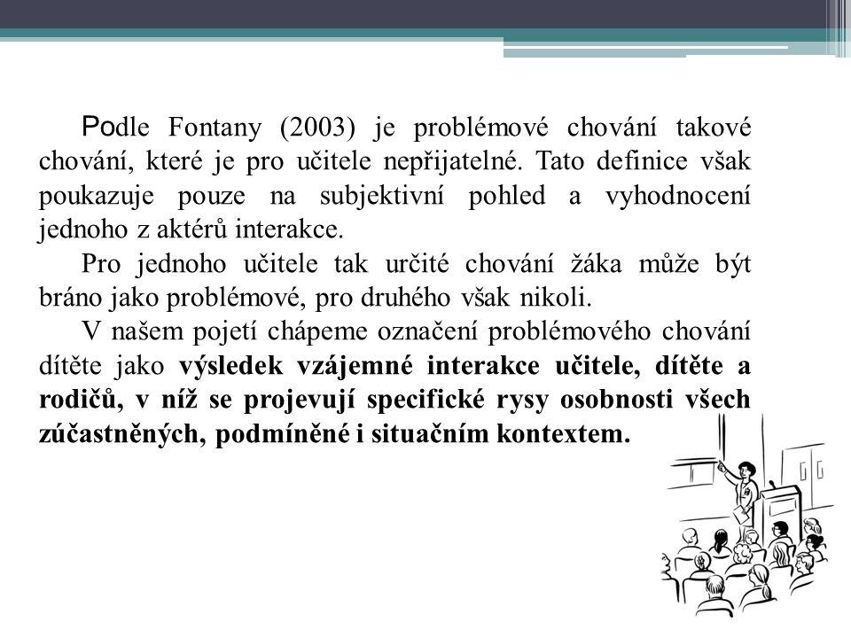 Podle Fontany (2003) je problémové chování takové chování, které je pro učitele nepřijatelné. Tato definice však poukazuje pouze na subjektivní pohled a vyhodnocení jednoho z aktérů interakce.