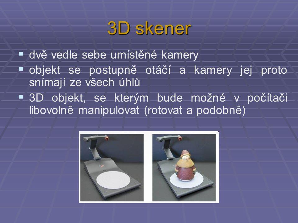 3D skener dvě vedle sebe umístěné kamery