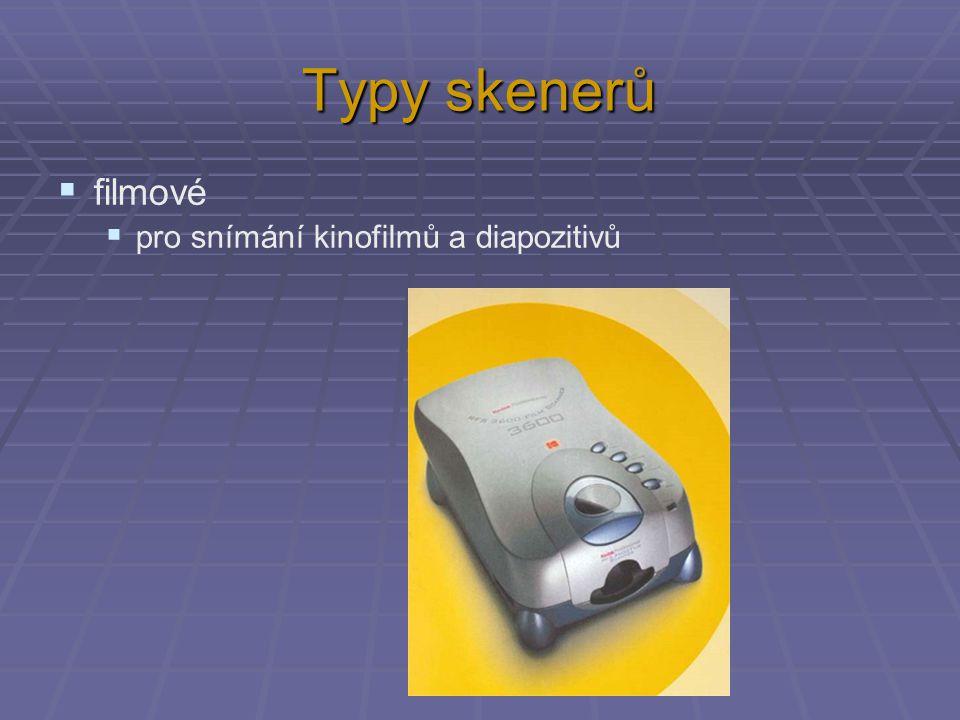 Typy skenerů filmové pro snímání kinofilmů a diapozitivů