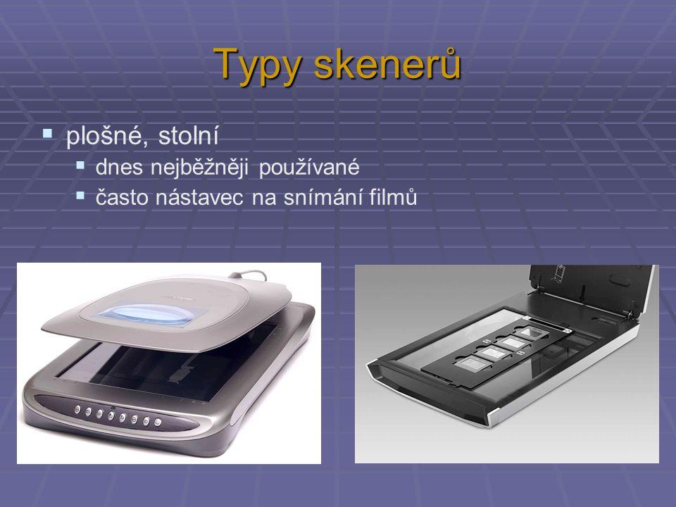 Typy skenerů plošné, stolní dnes nejběžněji používané