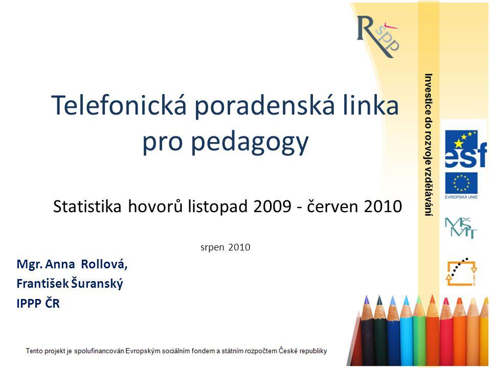 Telefonická poradenská linka pro pedagogy Statistika hovorů listopad 2009 - červen 2010 srpen 2010