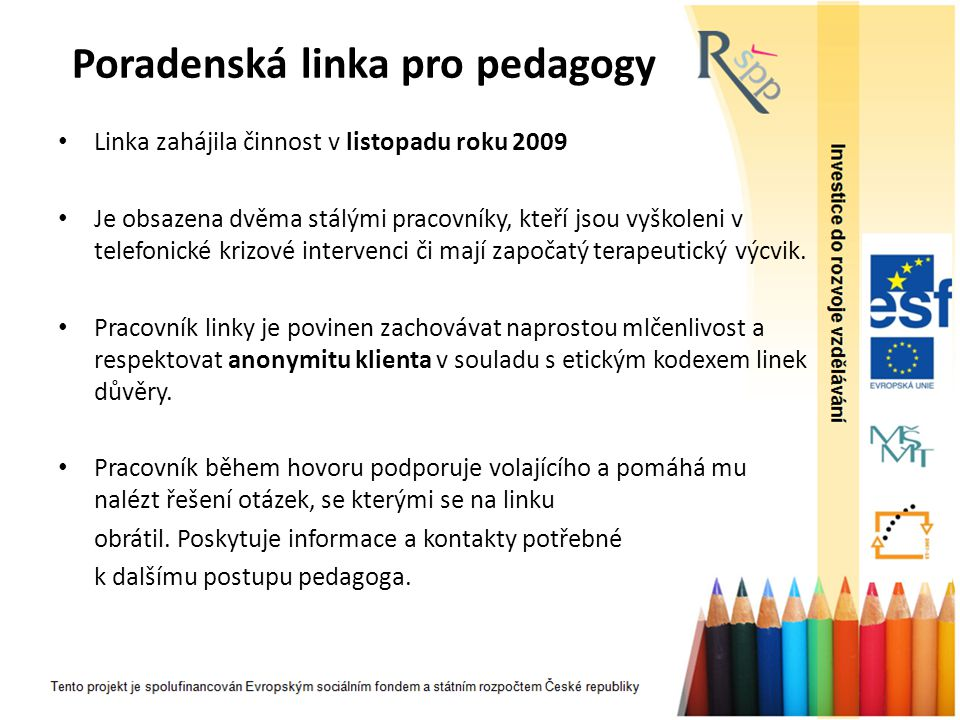 Poradenská linka pro pedagogy