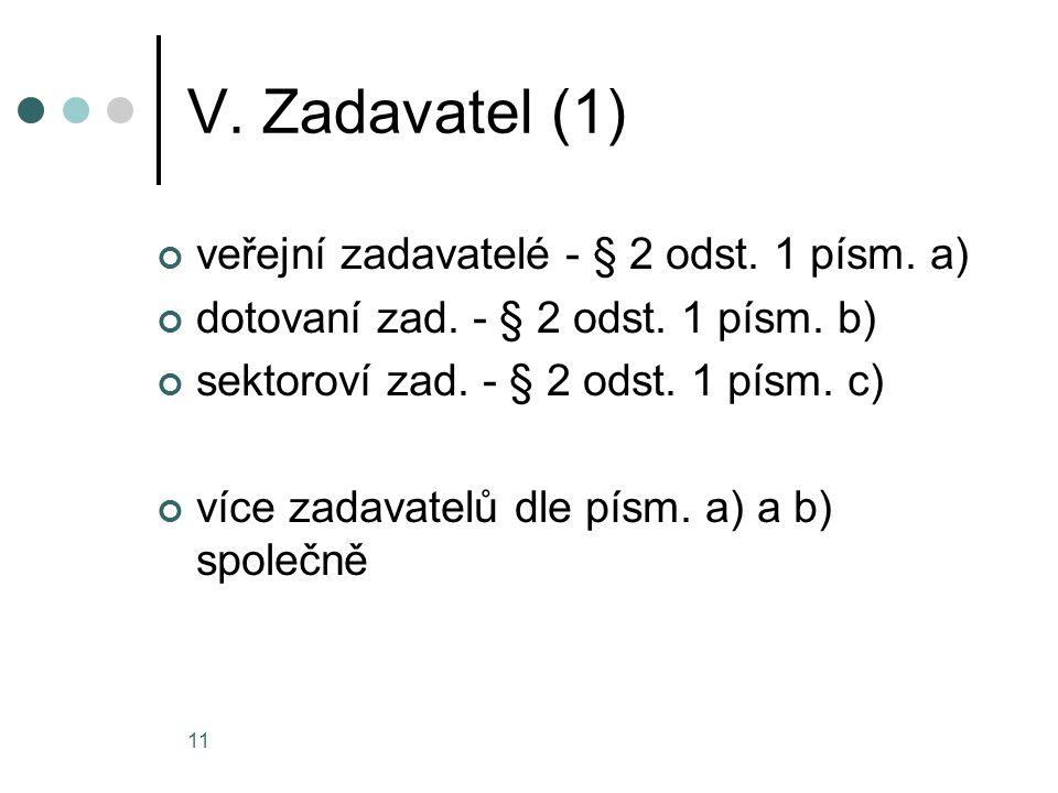 V. Zadavatel (1) veřejní zadavatelé - § 2 odst. 1 písm. a)