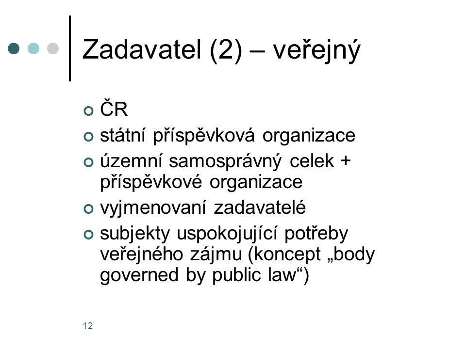 Zadavatel (2) – veřejný ČR státní příspěvková organizace