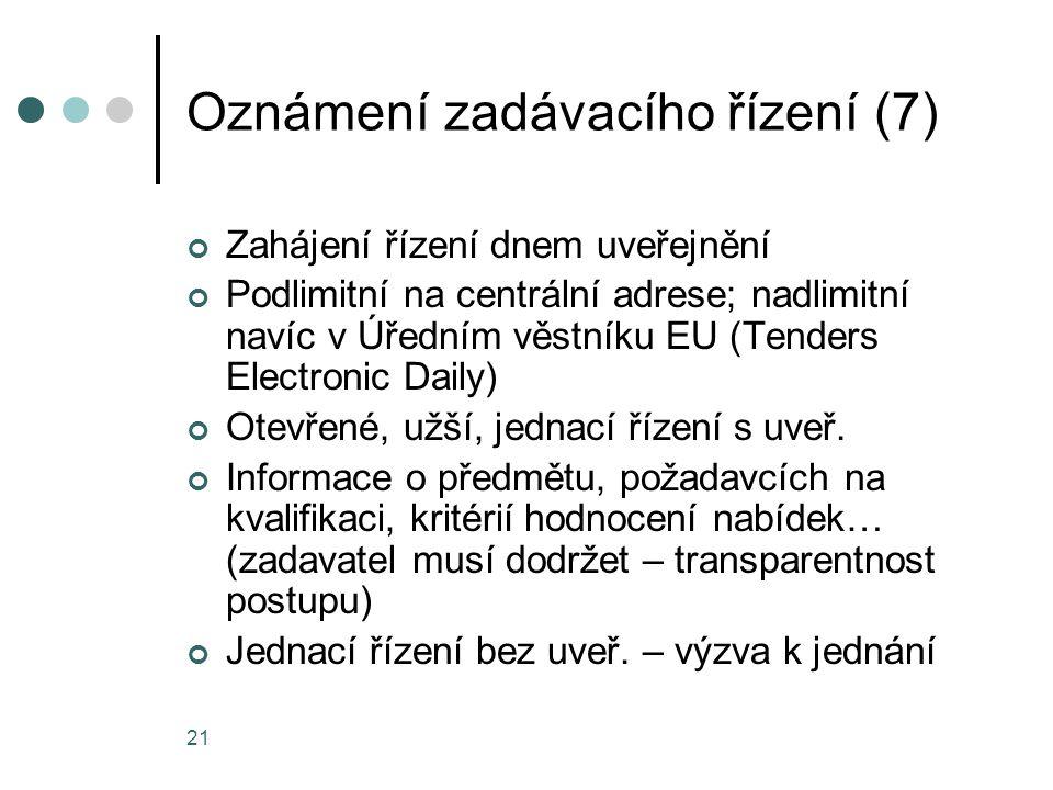 Oznámení zadávacího řízení (7)