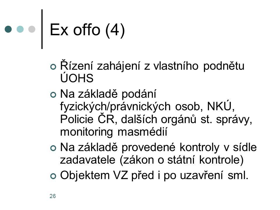 Ex offo (4) Řízení zahájení z vlastního podnětu ÚOHS