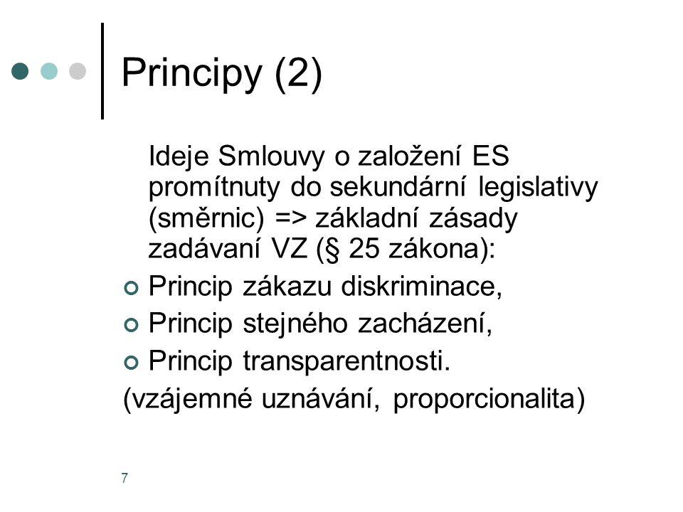 Principy (2) Ideje Smlouvy o založení ES promítnuty do sekundární legislativy (směrnic) => základní zásady zadávaní VZ (§ 25 zákona):