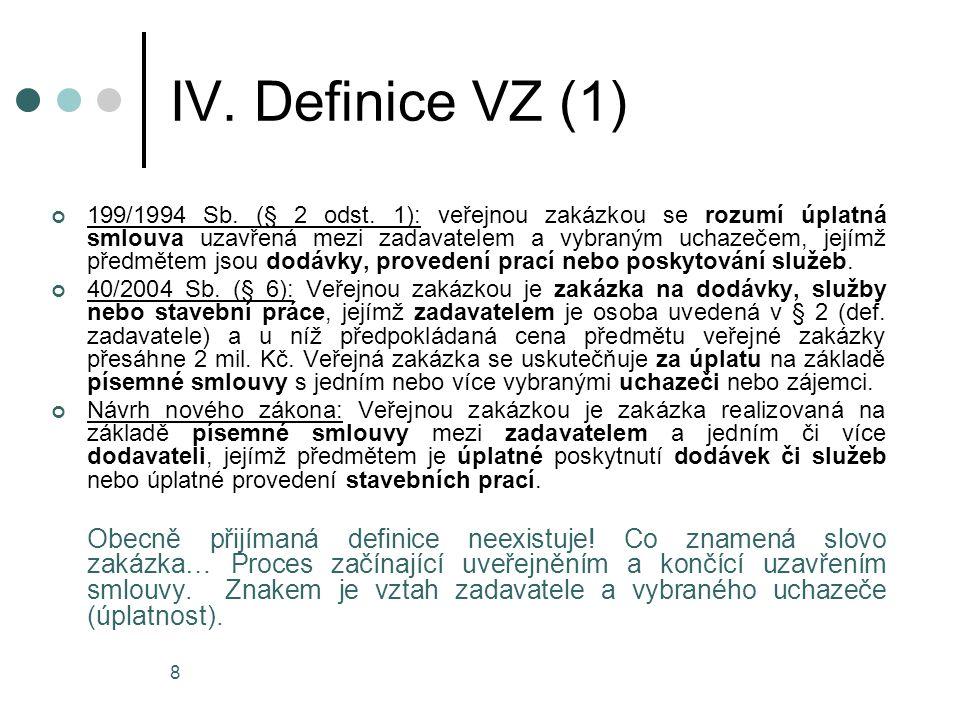 IV. Definice VZ (1)