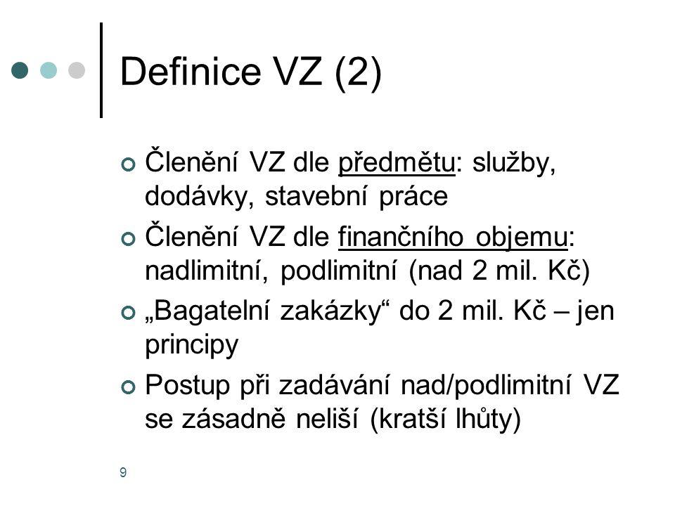 Definice VZ (2) Členění VZ dle předmětu: služby, dodávky, stavební práce. Členění VZ dle finančního objemu: nadlimitní, podlimitní (nad 2 mil. Kč)
