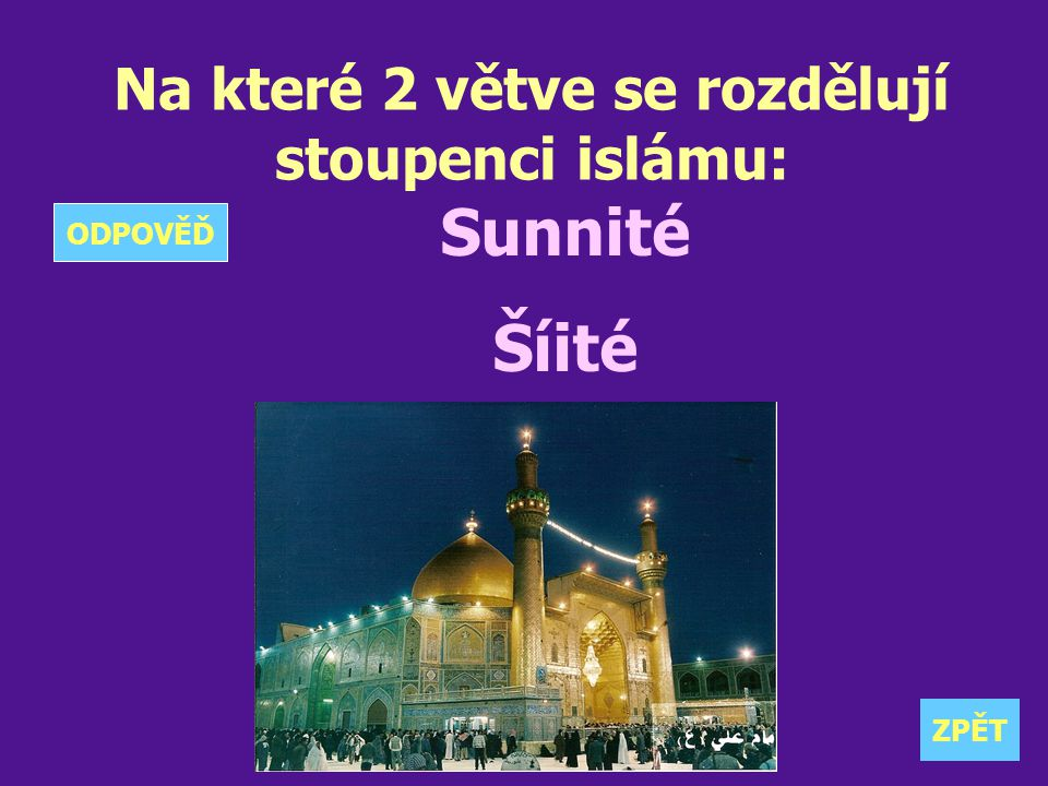 Na které 2 větve se rozdělují stoupenci islámu: