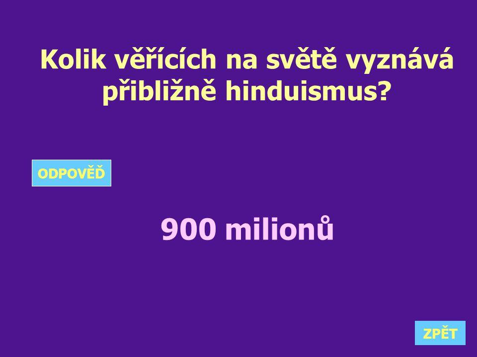 Kolik věřících na světě vyznává přibližně hinduismus