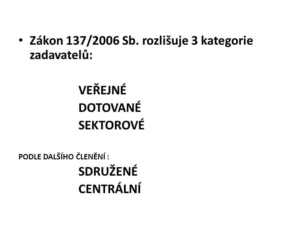 Zákon 137/2006 Sb. rozlišuje 3 kategorie zadavatelů: