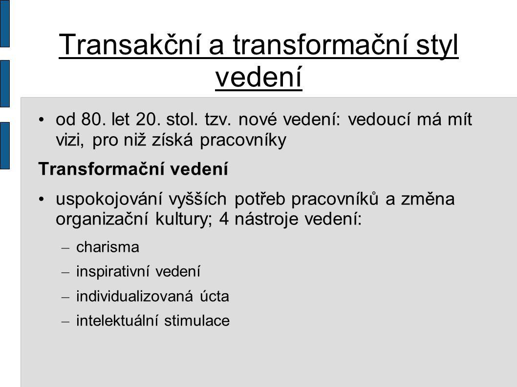 Transakční a transformační styl vedení