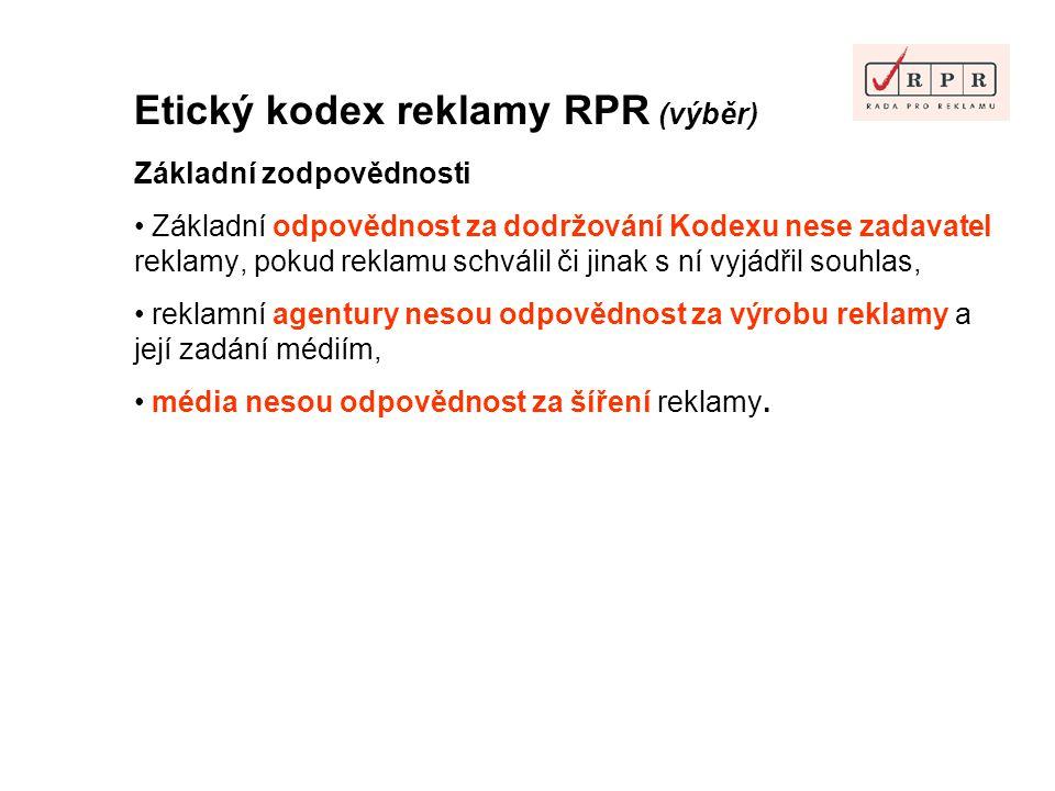 Etický kodex reklamy RPR (výběr)
