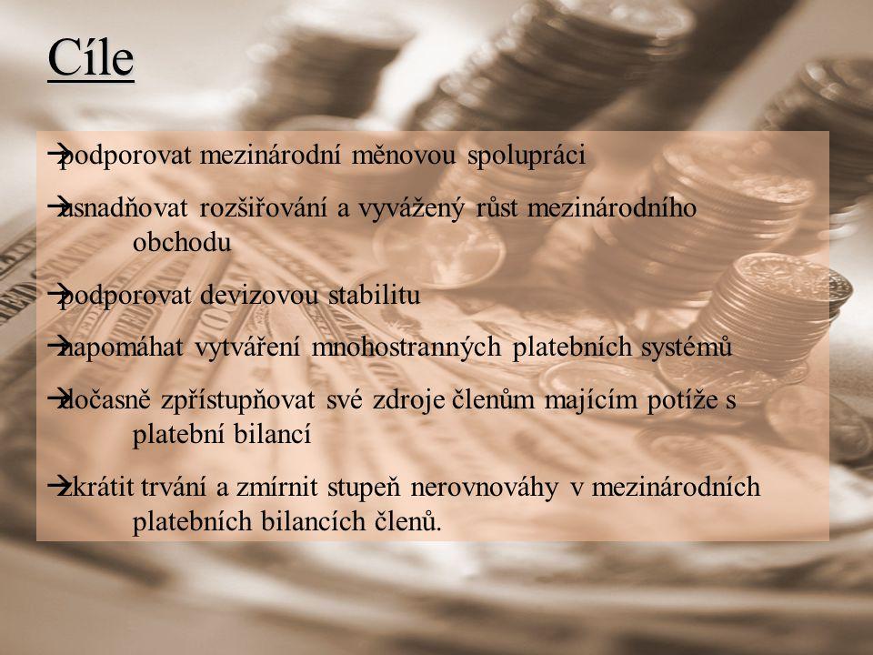 Cíle podporovat mezinárodní měnovou spolupráci