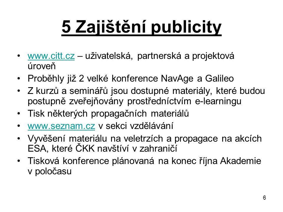 5 Zajištění publicity www.citt.cz – uživatelská, partnerská a projektová úroveň. Proběhly již 2 velké konference NavAge a Galileo.