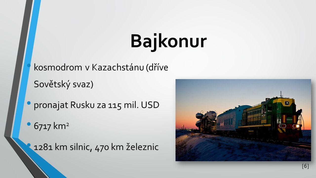 Bajkonur kosmodrom v Kazachstánu (dříve Sovětský svaz)