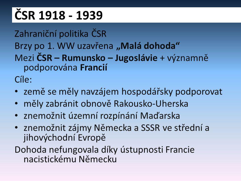 ČSR 1918 - 1939 Zahraniční politika ČSR