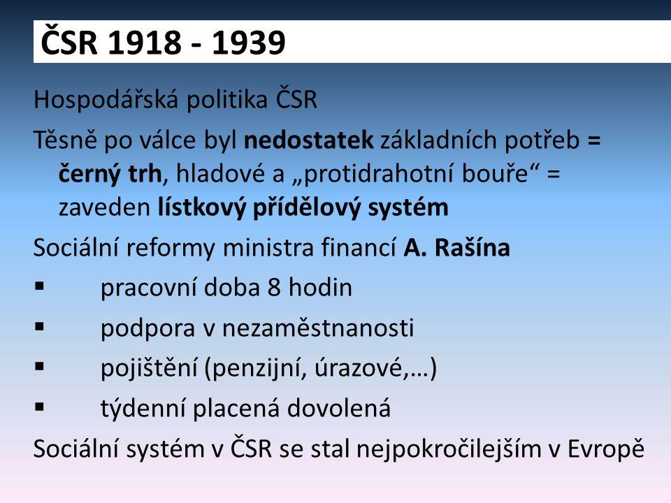 ČSR 1918 - 1939 Hospodářská politika ČSR