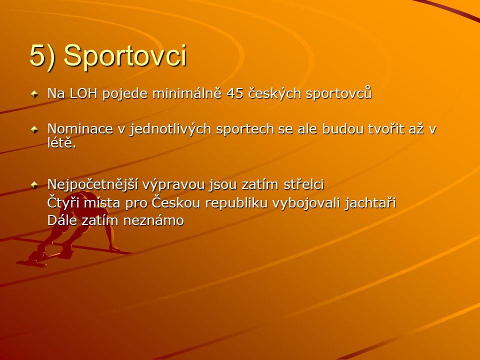 5) Sportovci Na LOH pojede minimálně 45 českých sportovců